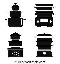 Steamer icon set, simple style