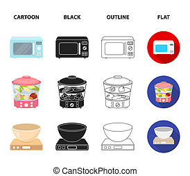 Steamer, microwave oven, scales, lcd tv.Household set collection icons in cartoon, black, outline, flat style bitmap symbol stock illustration web.