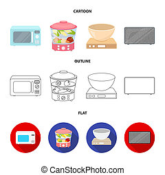 Steamer, microwave oven, scales, lcd tv.Household set collection icons in cartoon, outline, flat style bitmap symbol stock illustration web.