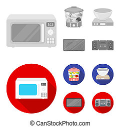 Steamer, microwave oven, scales, lcd tv.Household set collection icons in monochrome, flat style bitmap symbol stock illustration web.