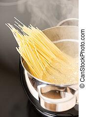 steamin, het koken, spaghetti, pan