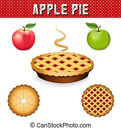 Apple Pie, green Granny Smith and Pink apple fruits -...