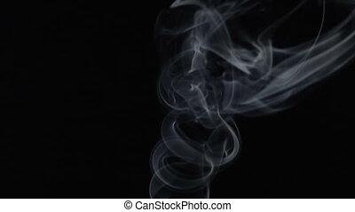 Steaming aroma stick, video - White smoky cloud of aroma...