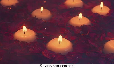Steaming Bath With Floating Candles And Flowers - Dried rose...