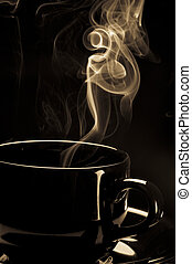 Steaming black coffee cup