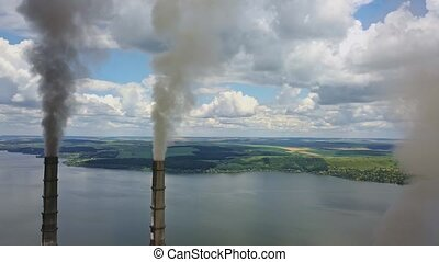 Steaming chimneys of power station - Few steaming chimneys...