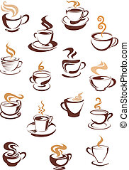 Steaming coffee cups set - Hot steaming coffee cups beige...