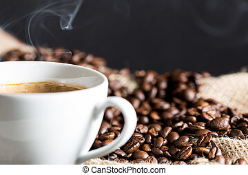 Steaming coffee - Delicious natural freshly ground coffee...