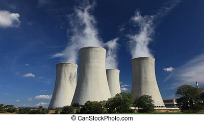 Steaming cooling tower - Cooling tower of nuclear power...
