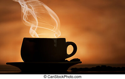 Steaming cup of coffee on brown background
