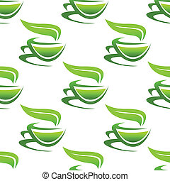 Steaming cups of green tea