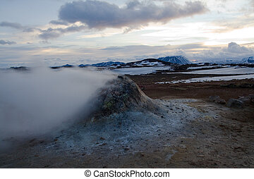 Steaming fumarole