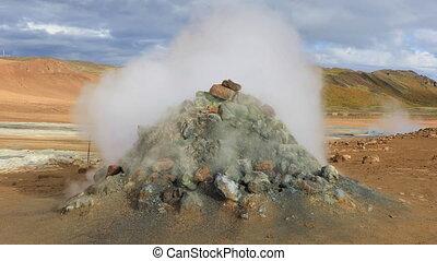 Steaming fumaroles Hverir in Iceland - Steaming fumaroles...