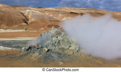 Steaming fumaroles in Iceland - Steaming fumaroles at Hverir...