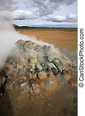 Steaming fumarole Namaskaro in Iceland