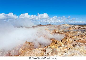 Seltun - Steaming geothermal area Seltun near Krysuvik,...