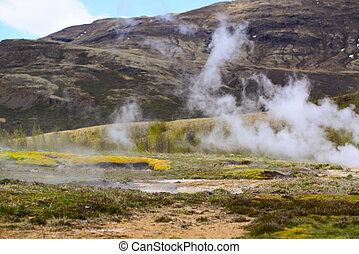 Steaming geothermal hot water Iceland