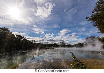Steaming geothermal lake, Rotorua - Steaming hot pond with ...