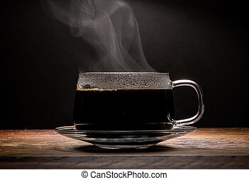 Steaming Glass Coffee Cup Centered