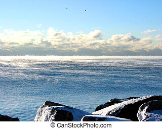 Steaming lake - Lake Ontario literally steaming after a...