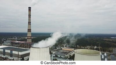 Steaming power station and administrative buildings on the...