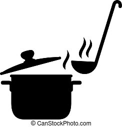 Steaming saucepan and a ladle