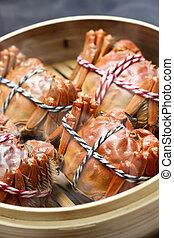 steaming shanghai hairy crabs