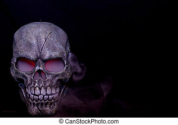 Steaming skull - A Halloween prop skull with fog coming from...