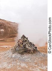 Steaming sulphur fumaroles at geothermal area Hverir in north Iceland