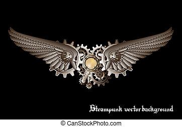 steampunk, ベクトル, 翼, 背景