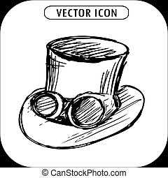 steampunk, 上, 手, ゴーグル, 引かれる, 真ちゅう, 帽子