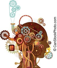 steampunk, 人, 脳