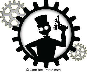steampunk, 手掛かり, シルエット, g, 人