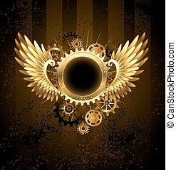 steampunk, 旗幟, 輪, 翅膀