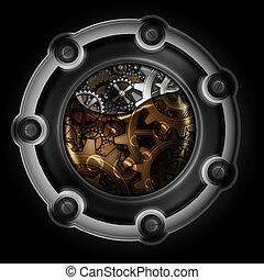 steampunk, abstratos, mechanism., engrenagens, em, máquina,...