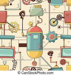 steampunk, achtergrond, seamless, illustratie