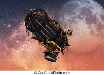 Steampunk Airship, 3d CG - 3d computer graphics of a...