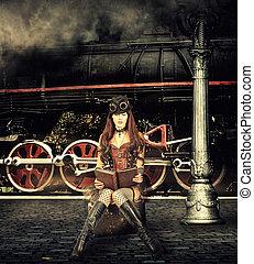 Steampunk and retro-futurism style. Woman traveler