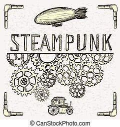 Steampunk background, gear, vintage car and airship. Vector...