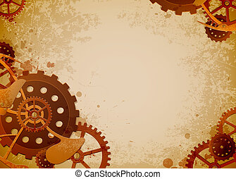 steampunk background - Vector grunge background in the style...