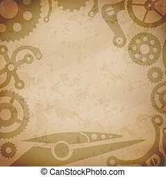 Steampunk background with vintage mechanism parts