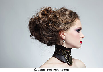 Steampunk beauty - Portrait of young beautiful girl with...