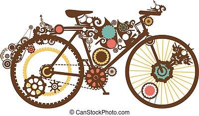 Steampunk Bike - Steampunk Illustration of a Bike Designed...