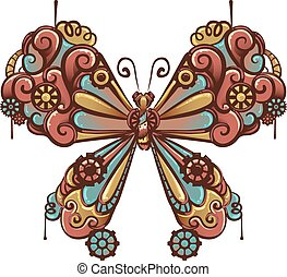 Steampunk Butterfly Design - Steampunk Illustration of a...