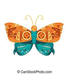 Steampunk butterfly tattoo
