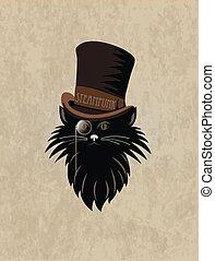 steampunk, cat., stilizált, tervezés, sablon, whith, kártya