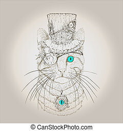 Steampunk Cat Vintage Style - steampunk cat in the hat and...