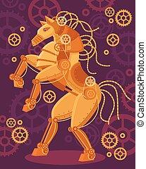 steampunk, cavalo, dourado, cartaz