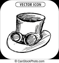 steampunk, cima, mano, gafas de protección, dibujado, latón...