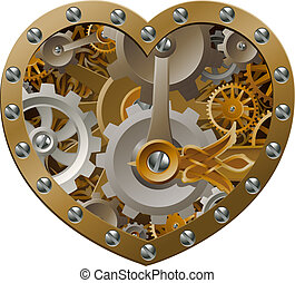 Steampunk clockwork heart concept with a heart shape made of cogs and gears